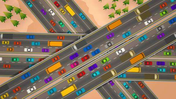 Animation looking straight down over three busy highways crossing each other. Royalty-free stock video