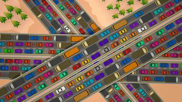 Loopable animation looking straight down of slow moving bumper to bumper traffic jam on three busy highways crossing each other. Royalty-free stock video