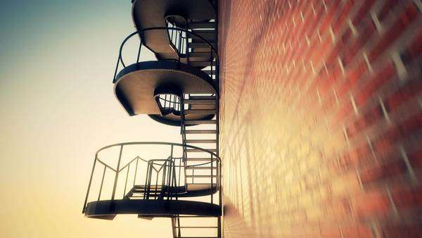 Staircase Attached On Brick Wall Outside Building Royalty-free stock video