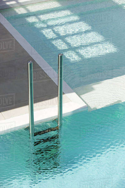 Swimming Pool Ladder At Deep End Separated From Shallow