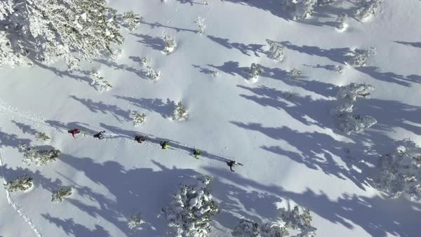 Top view of skiers trudging through snow Royalty-free stock video