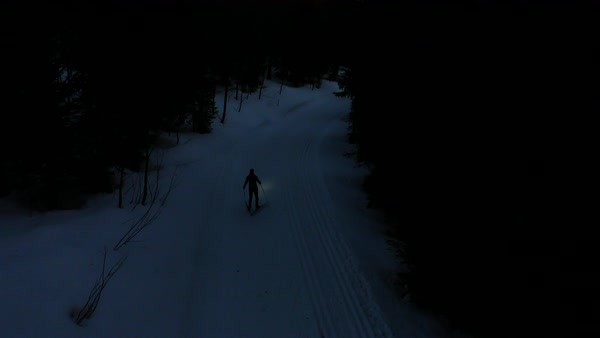 Wide shot of a cross-country skier Royalty-free stock video