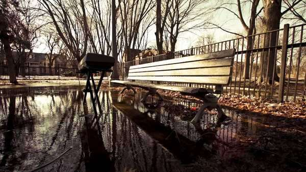 Motion timelapse of a music keyboard sitting in a water puddle next into a bench in a park on a sunny winter day Royalty-free stock video