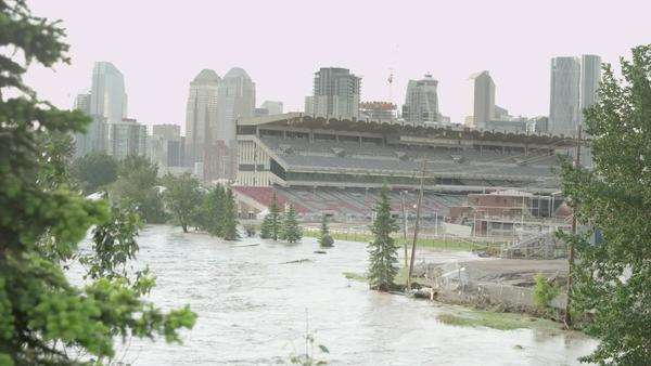 Flooded Calgary Stampede Grounds Royalty-free stock video