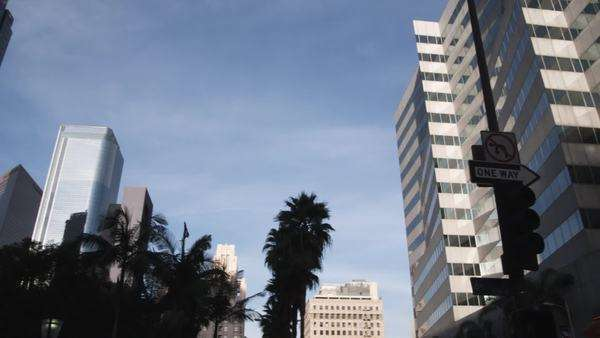 Medium shot, PAN, Low Angle of buildings in downtown Los Angeles, California, USA Royalty-free stock video