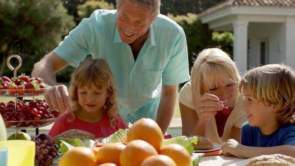 Grandparents and grandchildren sitting at table of food in garden. Royalty-free stock video