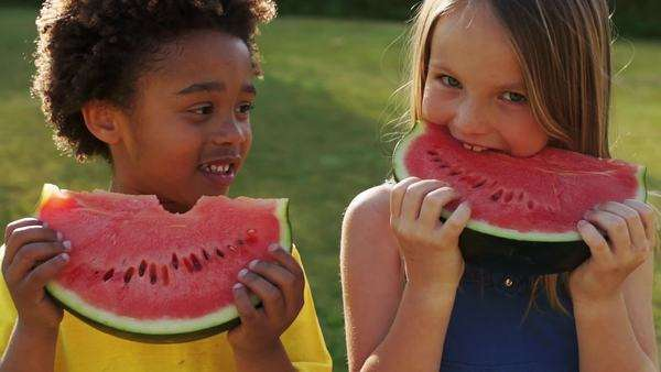 Slow motion of two children eating water melon in park Royalty-free stock video