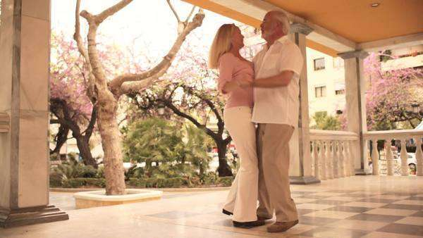 Mature couple in park dancing Royalty-free stock video