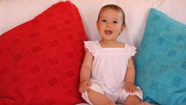 Baby on sofa Royalty-free stock video