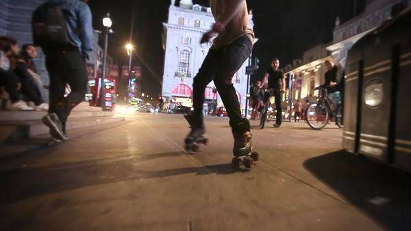 Steadicam shot of rollerskater in Picadilly Circus, London Royalty-free stock video