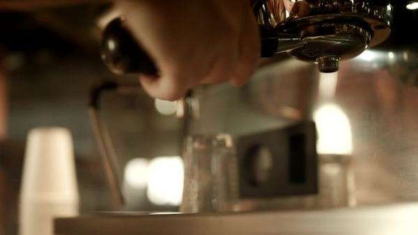 Close-up of barista making an espresso Royalty-free stock video
