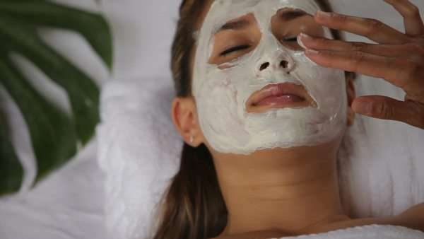Woman at spa getting facial treatment Royalty-free stock video