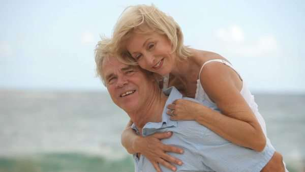 Portrait of senior couple at beach Royalty-free stock video