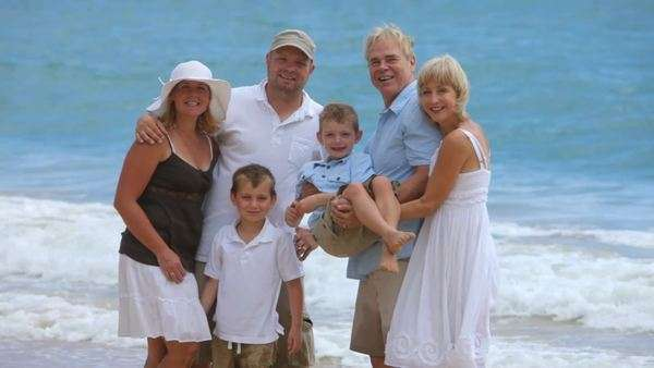 Portrait of multi-generation family at beach Royalty-free stock video