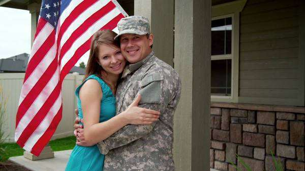 Portrait of American soldier and wife Royalty-free stock video