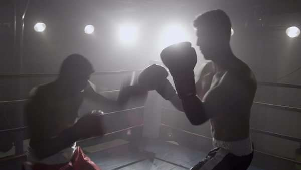 Portrait of boxer standing in ring ready to fight Royalty-free stock video