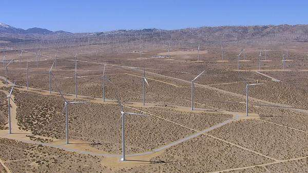 Aerial shot of stationary wind turbines Royalty-free stock video