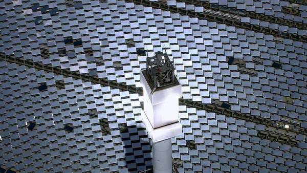 Aerial shot of solar mirrors at power plant, California Royalty-free stock video