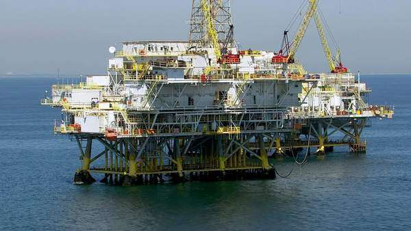 Aerial shot of off shore oil platforms Royalty-free stock video