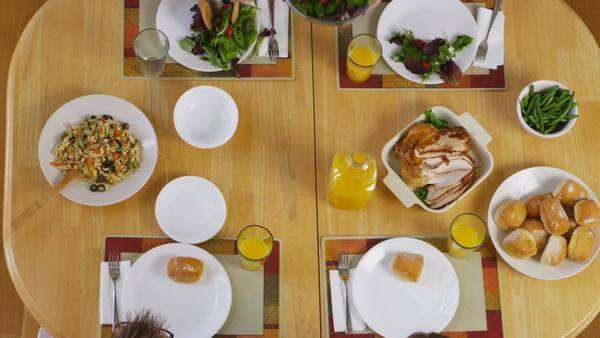 Overhead shot of food at the dinner table Royalty-free stock video
