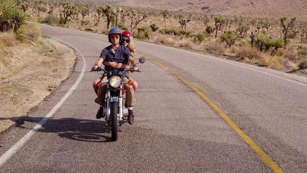 Couple riding together on motorcycle Royalty-free stock video