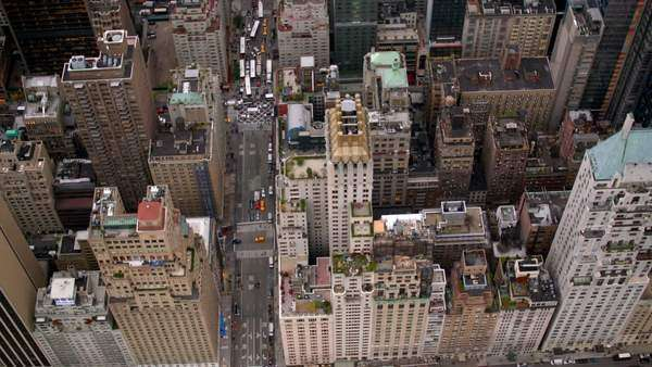 New York City buildings, overhead aerial shot Royalty-free stock video