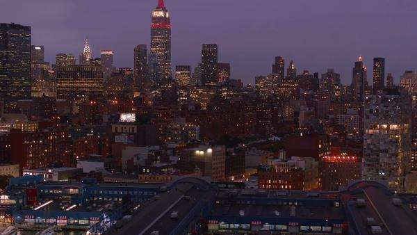 Aerial shot of New York at night Royalty-free stock video