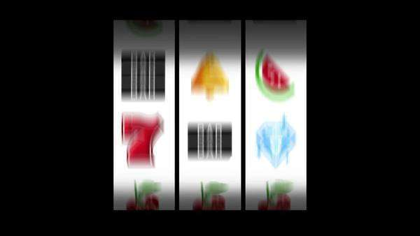 Animated slot machine reels spin and come to rest at three cherries  White reels Royalty-free stock video