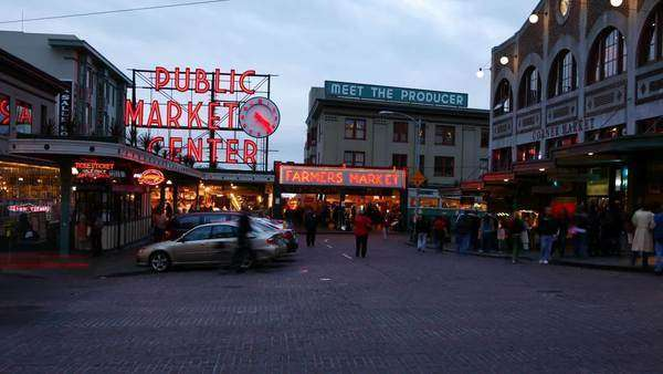 Seattle, WA - July 11, 2007: Timelapse shot Pike's Place Market at dusk Royalty-free stock video