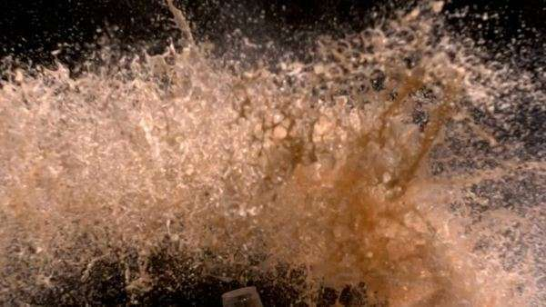 Soda bottle explosion, slow motion Royalty-free stock video