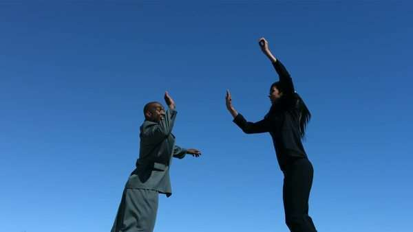 Businesspeople jumping in air doing high five, slow motion Royalty-free stock video
