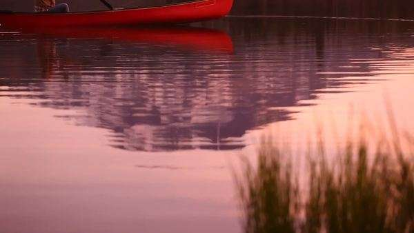 Man paddling canoe on lake at sunset Royalty-free stock video