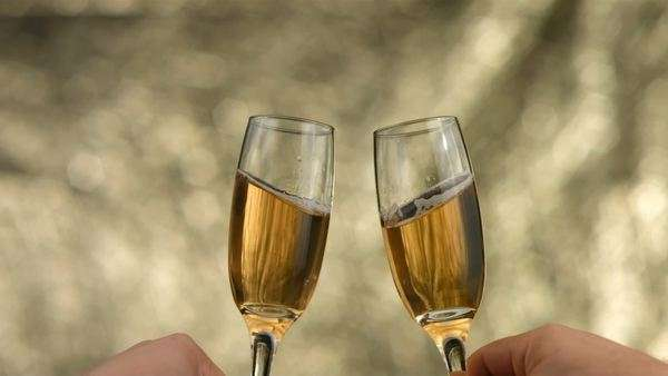 New Year's champagne toast, slow motion Royalty-free stock video