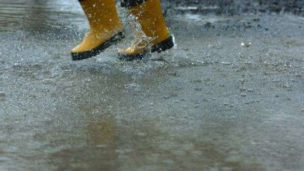 Running through puddles, slow motion Royalty-free stock video