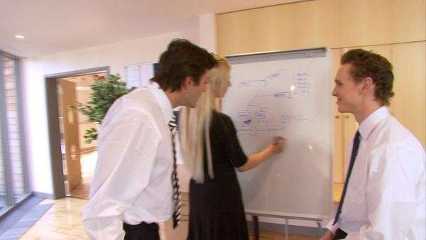 Business team brainstorming for ideas in a modern office Royalty-free stock video