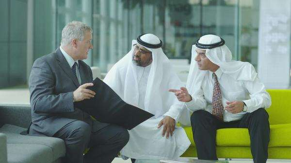 Middle eastern businessmen meeting western man Royalty-free stock video