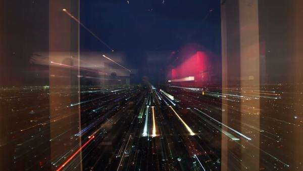 an abstract time-lapse version at night of the rotating restaurant at the top of the world trade centre in Mexico city Royalty-free stock video