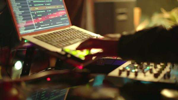 cool  DJs  behind the turntables performing in a bar Royalty-free stock video
