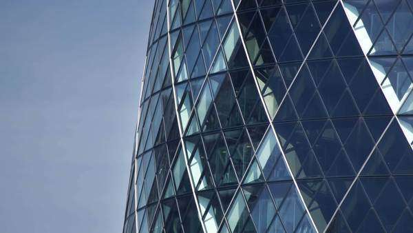 extreme close up of the swiss re building also known as the gherkin in the financial