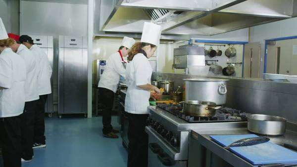 Team of chefs in a professional kitchen doing dishes and cleaning ...