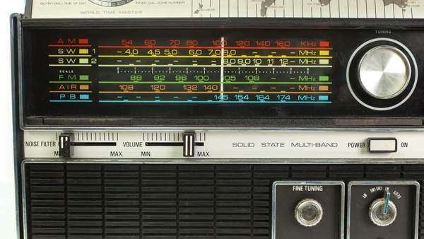 close up of an retro radio with the marker running through the different stations and frequencies Royalty-free stock video
