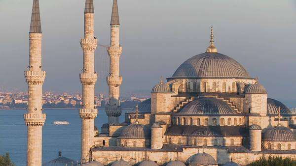 The Blue Mosque in Istanbul, Turkey at dusk. Royalty-free stock video