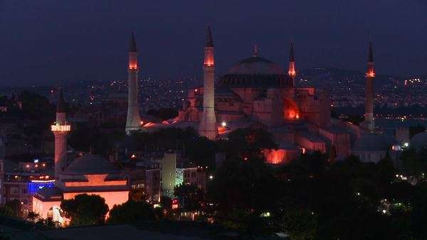 The Hagia Sophia Mosque in Istanbul, Turkey at dusk or night. Royalty-free stock video