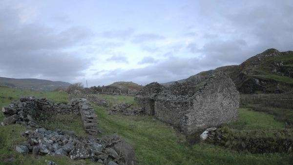 Timelapse of clouds blowing over the ruins in Glencolumbkille, County Donegal, Ireland. Royalty-free stock video