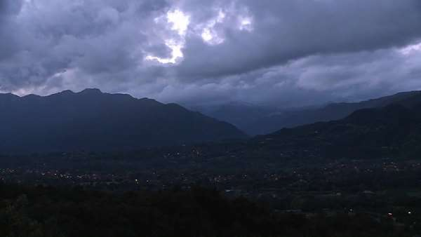 Evening timelapse of a snowstorm blowing over the Ojai Valley, California. Royalty-free stock video