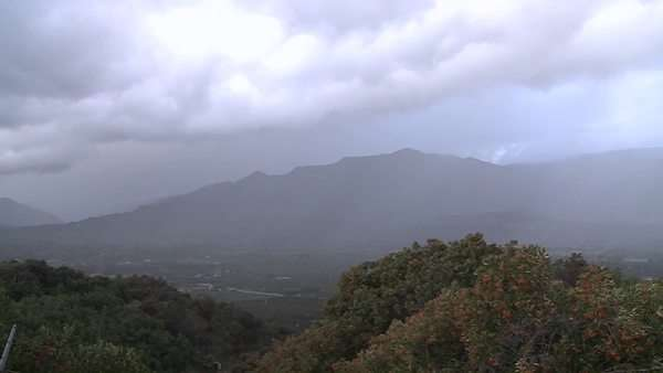 Timelapse of a snowstorm and sunshine over the Ojai Valley, California. Royalty-free stock video