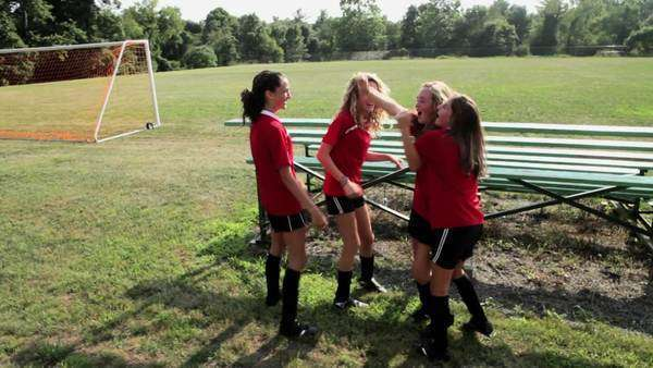Happy female soccer teammates Royalty-free stock video