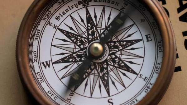 Needle spinning on an old-fashioned compass Royalty-free stock video