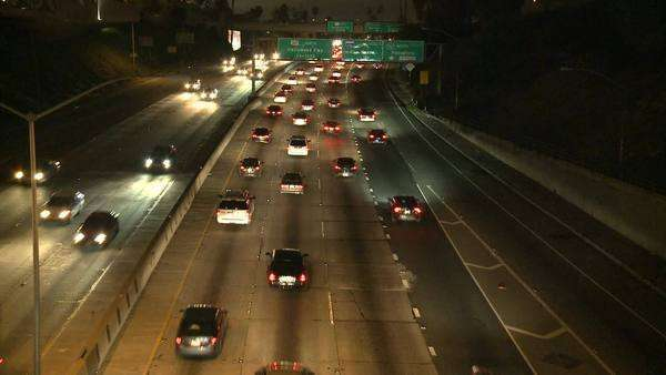 Traffic on the 101 Freeway at night Los Angeles Royalty-free stock video