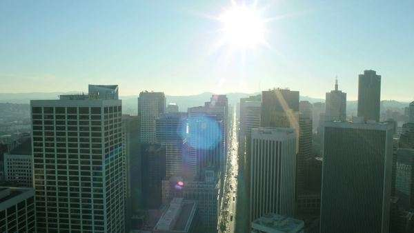 Aerial view of the streets of San Francisco skyscrapers and traffic congestion, North America, USA Royalty-free stock video